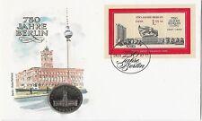 Numisbrief DDR, 750 Jahre Berlin, Münze 5 Mark Rotes Rathaus