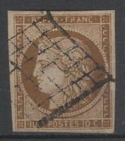 """FRANCE STAMP TIMBRE 1 b """" CERES 10c BISTRE-VERDATRE 1850 """" OBLITERE TTB  N914"""