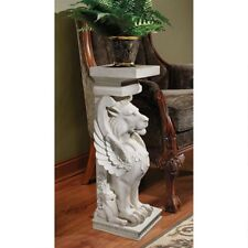 Design Toscano Trapezophoron Sculptural Winged Lion Indoor Or Outdoor Pedestal