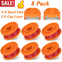 8 Pack Replacement String Trimmer Spool Line for WORX 6 Pack Spool and 2 Cap New