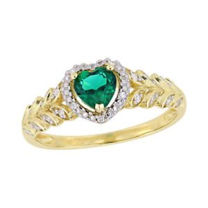 3Ct Heart Shape Green Emerald Halo Diamond Engagement Ring 14K Yellow Gold Over