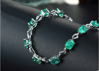 925 Sterling Silver Emerald Gemstone Bracelets Luxury Jewellery For Women