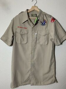 Vintage Boy Scouts of America Mens Small BSA Short Sleeve Button Uniform Shirt