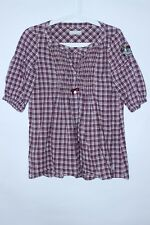 Odd Molly Checkered Embroidered Short Sleeve Shirt Tunic Size 0