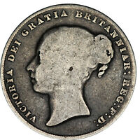 1858 8 over 9 Victoria silver shilling coin of Great Britain