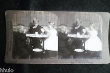 STA960 Scène de genre l'heure du thé gouter enfants Photo 1900 STEREO stereoview