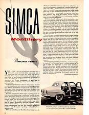 1958 SIMCA ARONDE MONTLHERY ~  ORIGINAL 2-PAGE ROAD TEST / ARTICLE / AD