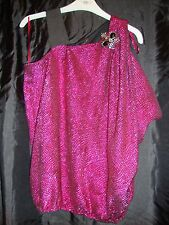 River Island Womens Top off the shoulder Pink with Brooch Size 10 New with Tags