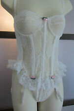Vtg Shirley Of Hollywood Lace Satin Corset Teddy S M wtih Garter Boning White