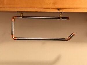 Kitchen Roll Holder Made From Chrome and Copper Pipe! Vintage Style!