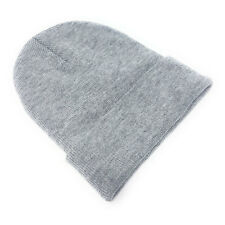 Beanie Hat Wholesale Slouch Mens Ladies Warm Winter Woolly Turn up Neon Unisex Light Grey 10