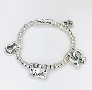 New Uno De 50 Silver Tone Elastic Love Heart Charms Beaded Chain Bracelet