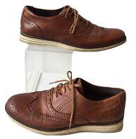 Mens Dune Leather Bayside Tan Brogues Flex Laces Shoes Size 8 / 41