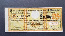 5 % Anleihe Deutschen Reichs 2,5 Mark Berlin 1916 Kupon Zinsschein Banknote(8093