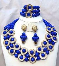 Latest Design Elongated Blue Crystal African Beads Bridal Wedding Jewelry Set