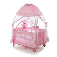 Baby Playpen Bassinets For Girls Child Cribs Mosquito Net Play Yards Pink Indoor