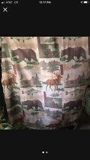 Bear, fish, log cabin, rustic shower curtain