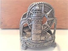 """Large Round Lighthouse Pewter Candle Holder, """"Keeper of the Light"""", Free Ship"""