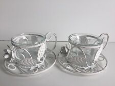 * NEW SET 2 VINTAGE STYLE WHITE TEA CUP CANDLE tea light holders metal glass.