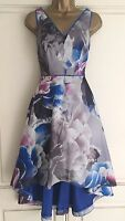 NEW EX COAST HI LOW BLUE IVORY PINK GREY FLORAL PARTY PROM DRESS SIZE 8 - 18