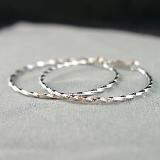 14k white Gold plated large hoop twisted classy earrings