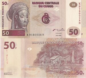 Congo P91A, 50 Francs, Tshokwe mask / village on Congo river UNC see UV image