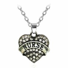 New Nurse Crystal Love Heart Pendant Rhinestone Necklace Chain & gift added