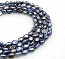 SALE 7-8mm Baroque black Natural Freshwater Pearl Loose beads strands 14''