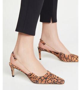 By Far Gabriella Leopard Print Slingback Pump: Size 37: Brown (161)