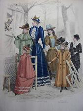 """55/ GRAVURE DE MODE """" Moniteur de la Mode Paris 1891 """".   Grand format 36x26"""