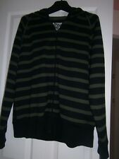 Men's Fleeced Hooded Cardigan By Topman size large Green and black stripe