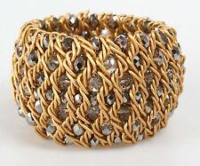 Joan Rivers JR6039BL Gold-Tone Crystal and Hematite Glass Bead Stretch Bracelet