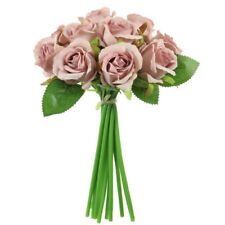 Blush Pink Mini Tea Bud Rose Hand Tie Bunch Spray Artificial Flower with 12 head