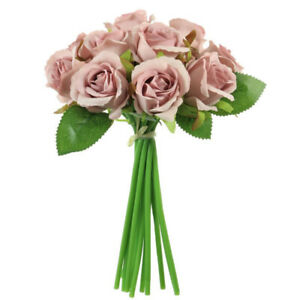 Blush Pink Mini Tea Bud Rose Hand Tie Bunch Spray Artificial Flower with 12 head
