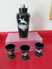 Antique  MARY GRGORY Type ART GLASS - Large COCKTAIL SHAKER & Matching GLASSES