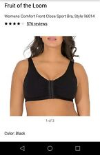 Fruit Of The Loom 96014 Comfort Cotton Blend Front Close Sports Bra