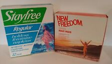 StayFree and New Freedom  MaxiPads 12 each Beltless Feminine Napkins 1970's READ