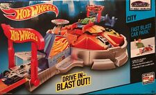 Hot Wheels City - FAST BLAST CAR PARK w/ Launcher & Vehicle DRIVE IN - BLAST OUT