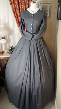 Civil War Reenactment Day Dress Size 26 Gray w/small design and crocheted collar