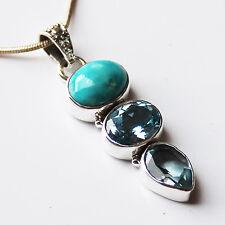 925 Sterling Silver Semi-Precious Turquoise & Blue Topaz Natural Stone Pendant