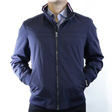 NWT Tommy Hilfiger Embroidery Jacket Navy Blue FullZip Size L Waterproof Elegant