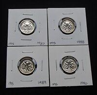 1987 1988 1989 1990 Australia Five 5 Cent Specimen Coins Ex Mint Sets - UNC