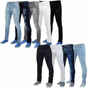 Mens Slim Fit Jeans Designer Denim Distressed Stretchy Pants New Ripped Trousers