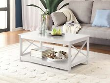 White Wood Coffee Table Furniture Living Room Modern Contemporary High Gloss