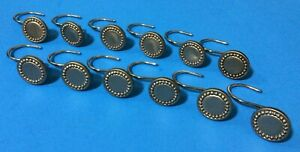 """12 Faux Brushed Nickel 1 1/4"""" Round Silver Color Resin Metal Shower Hooks"""