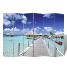 6 Panel Room Divider Folding Privacy Screen Home Office Partition Wooden Beach