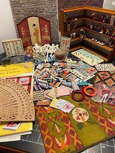 Dollhouse Miniature Big Lot Bookshelf Toys Rugs Chrysbon Dishes DIY Skeleton