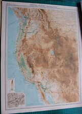 1922 LARGE ANTIQUE MAP- UNITED STATES-WESTERN SECTION