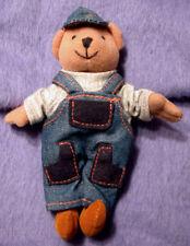 kleiner Teddy mit Latzhose u Kappe Sammlerteddy knuffiger Teddie Bär zu Sammeln