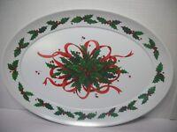 Brookpark Holly Melamine Christmas Platter #1521 Large 20X15 Holiday Ribbons